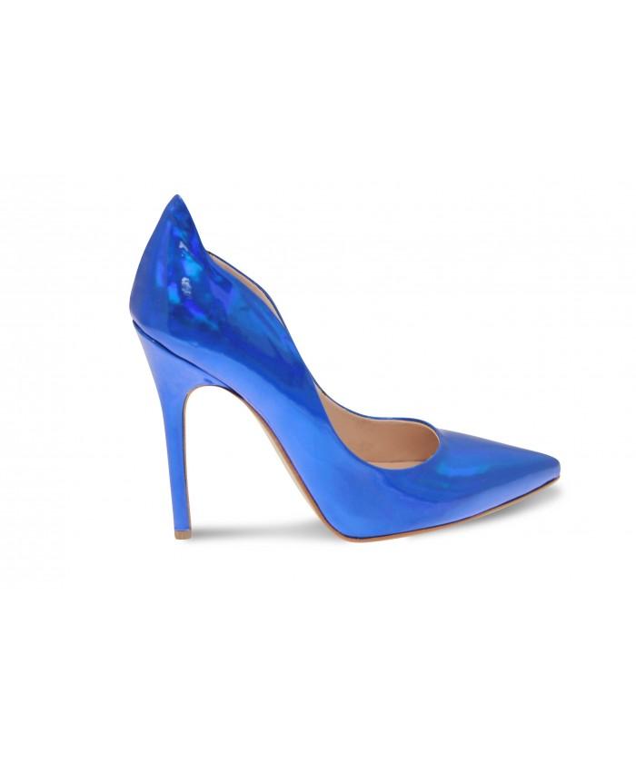 Escarpin Eden:Verni Miroir Bleu Roi