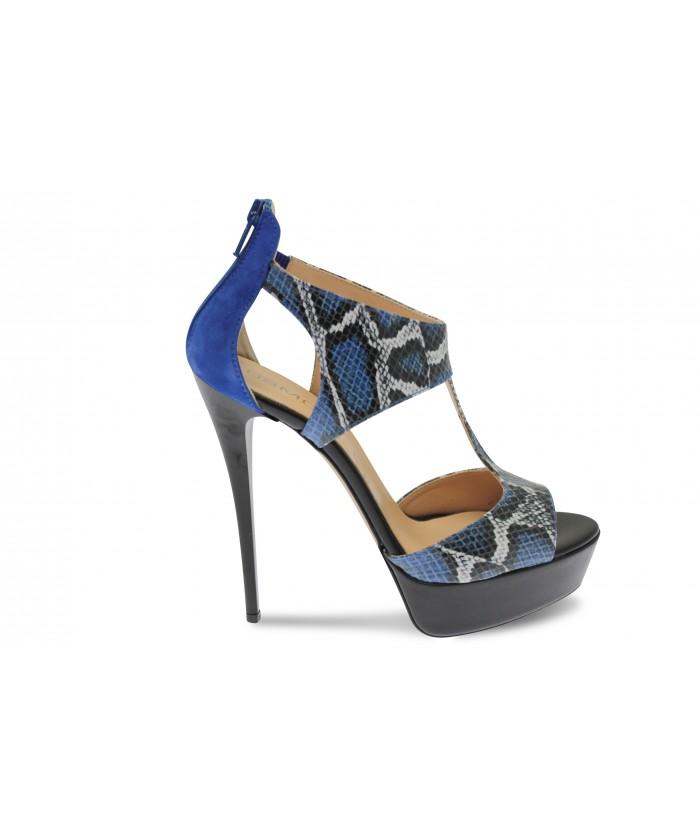 Sandale Salina: Cuir noir & Python Verni Bleu