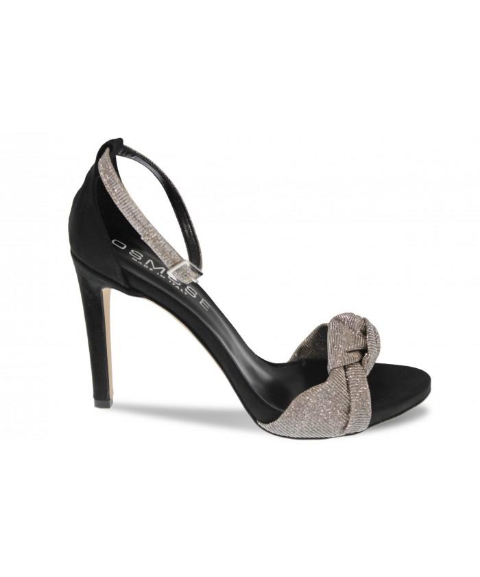 Sandale Lydia:daim Noir & glitter argent