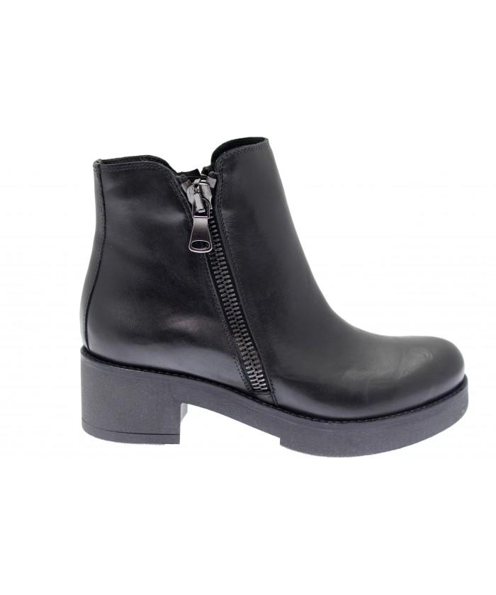 Boots Karel : Cuir Noir à Zip Semelle Gomme