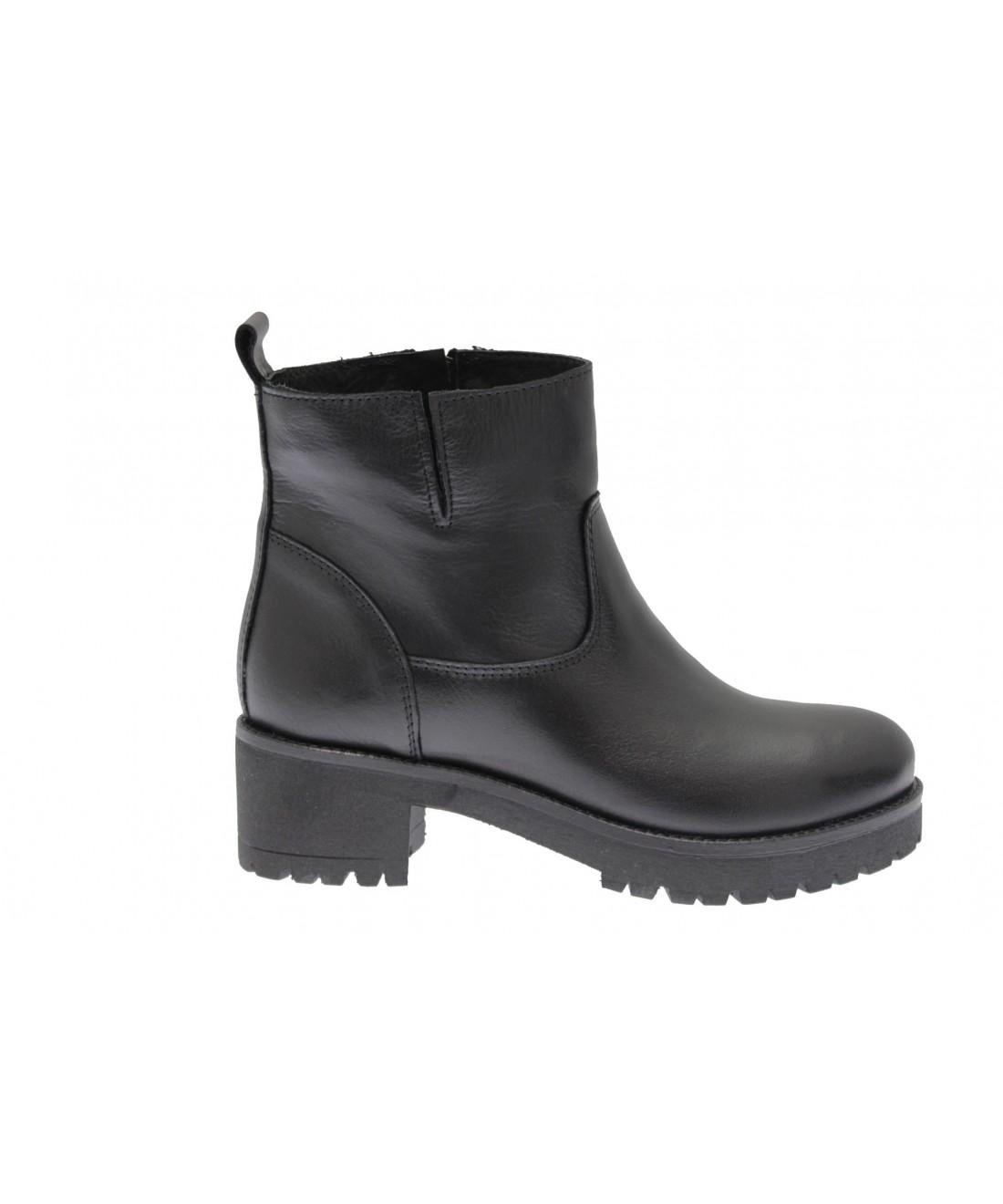 Boots en cuir semelle crantée Noir n101uHw