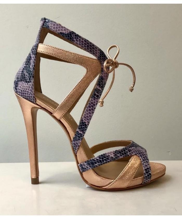 Sandale Aphrodite: Cuir rose laminé & Python coloré à talon haut