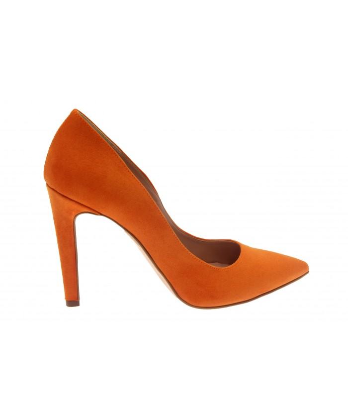 Escarpin Lucinda : Daim Orange à Talon