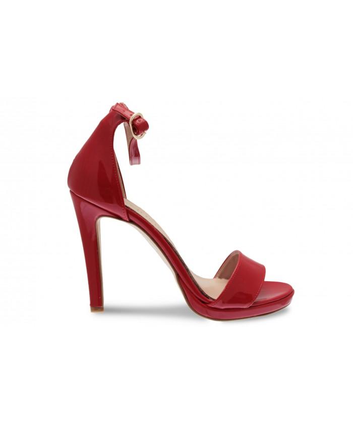 Sandale Line:Verni Rouge à bride & talon