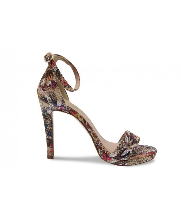 Sandale Line: Daim Multicolor à bride & talon fin