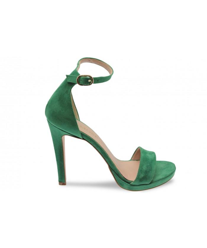 Sandale Line :effet daim Vert à Bride & Talon