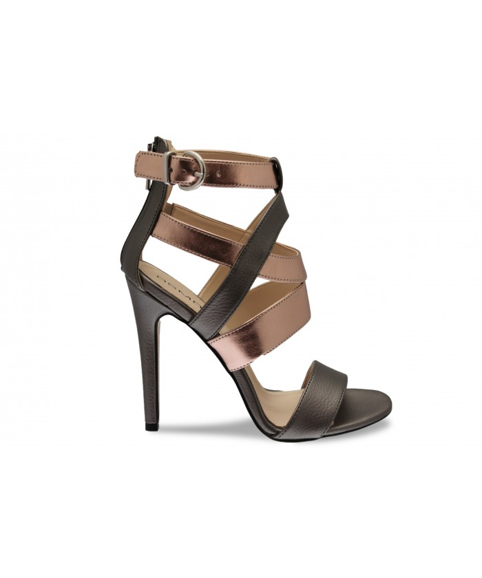 Sandale Mila: Cuir Argent & rose poudré à talon haut