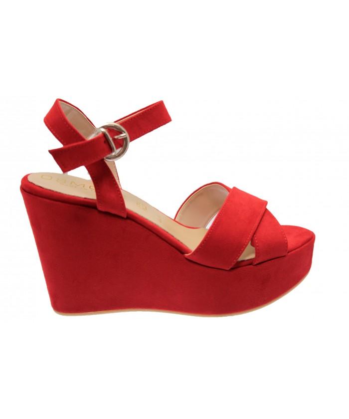 Sandale Mily: Compensée effet daim rouge à bride
