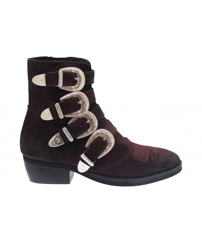 Boots Andreas: Daim Bordo multi sangle & boucle argentée
