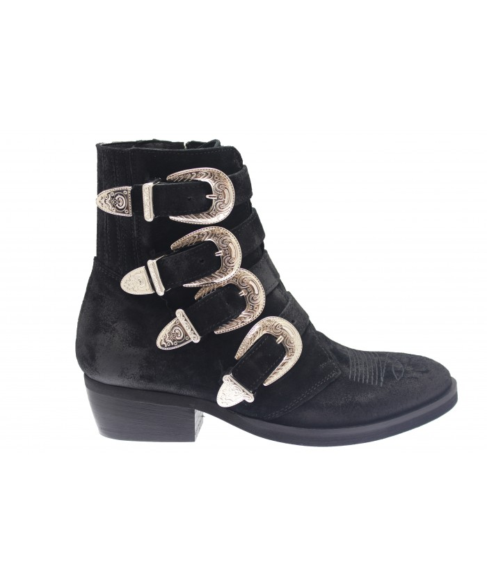 Boots Andreas: Daim Noir multi sangle & boucle argentée