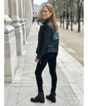 Bikers Nadia: Cuir Noir à lacet & Multi bride à clou