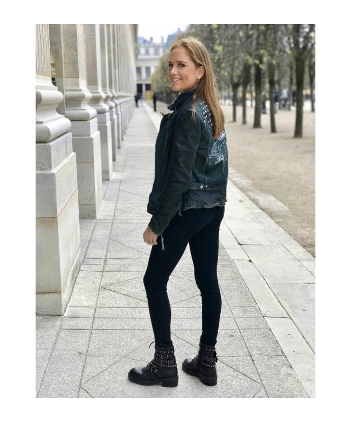 Bikers Nadia : Cuir Noir à Lacet & Multi Bride à Clou