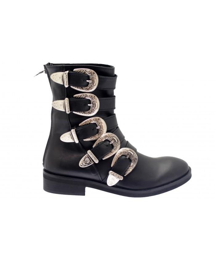 Boots Hagar : Cuir Noir Multi Sangle & Boucle Métal Argenté