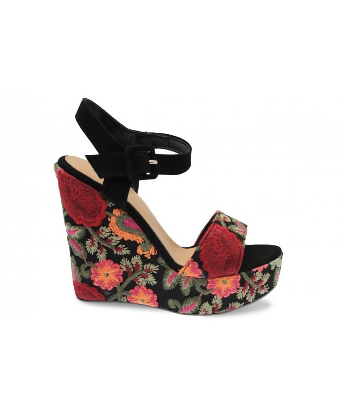 Sandale Majorie : Tissu Brodé Multicolore Compensé