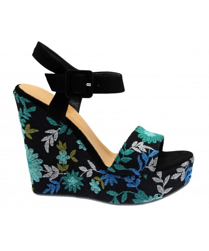 Sandale Majorie: Tissu Brodé Multicolore Compensé