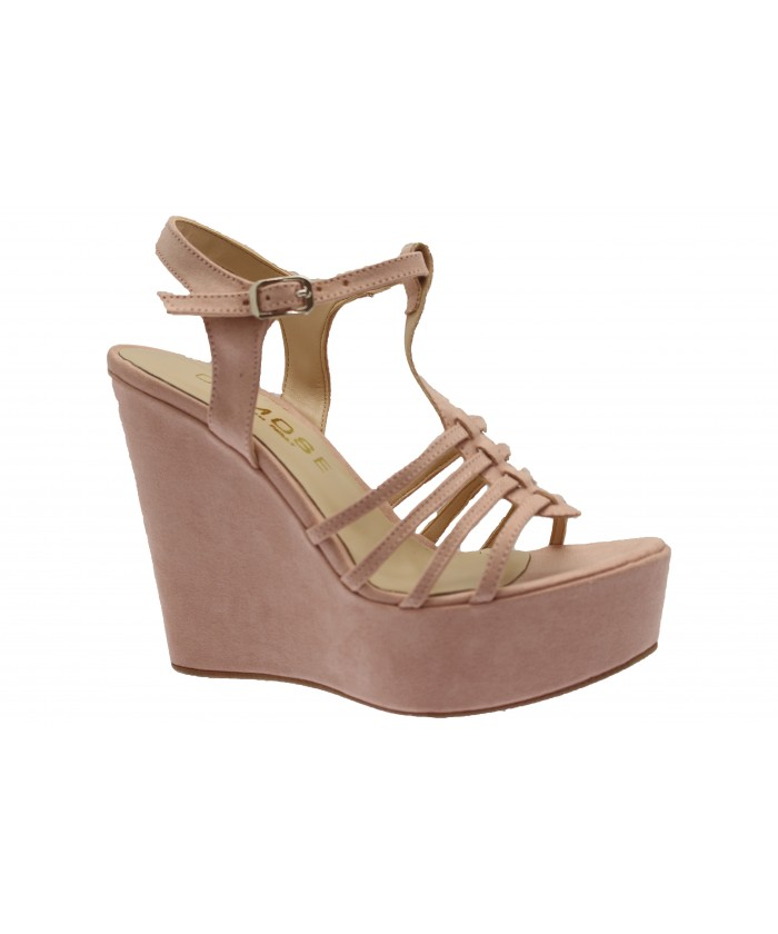 Compensée Telma : Sandale Daim Nude Mulit-Bride
