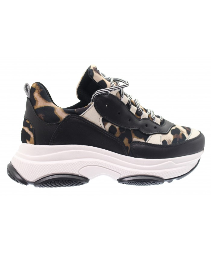 Basket Mona: Cuir Noir & tissus Leopard