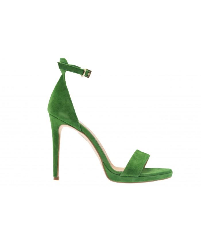 Sandale Sabrina :Daim Vert à Bride & Talon
