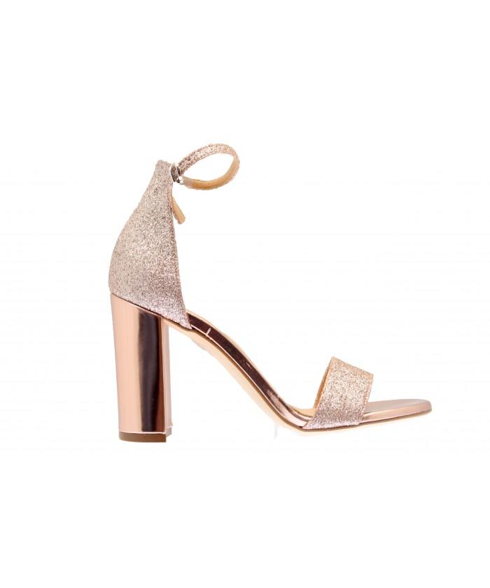 Sandale Naya : Laminé & Glitter or rosé à Bride & Talon Carré