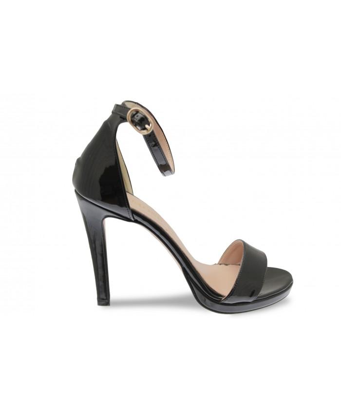 Sandale Line:Verni Noir à Bride et à Talon