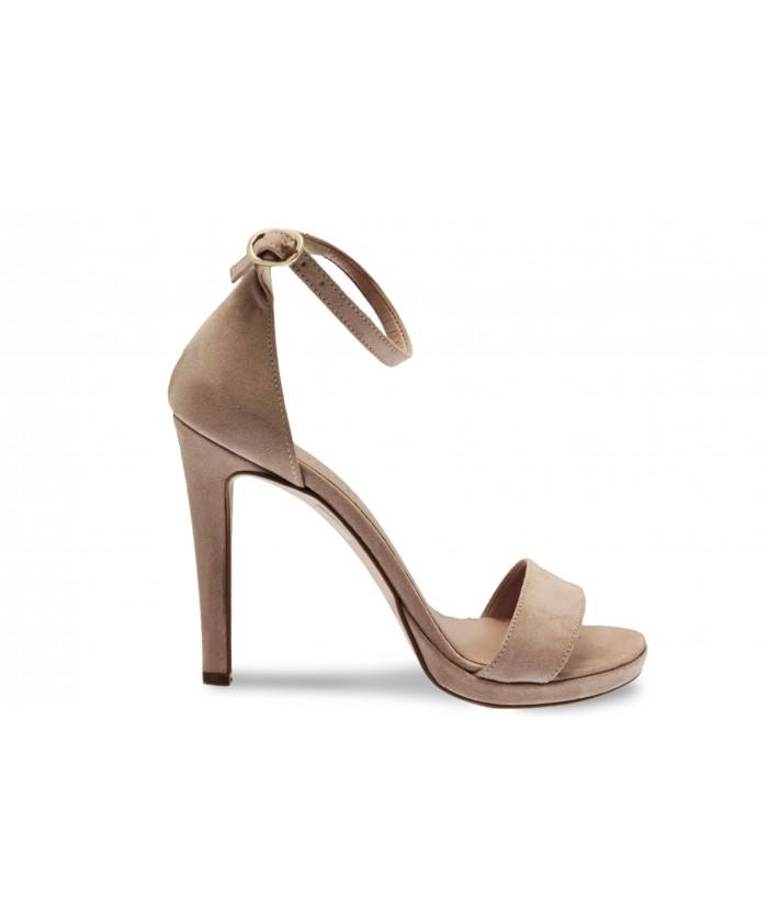 Sandale Line :Effet Daim Rose Poudré à Bride & Talon