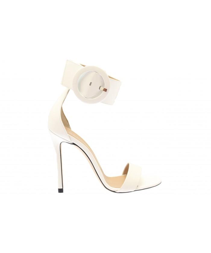 Sandale Mina: Vernis & Crocco Blanc à bride & boucle