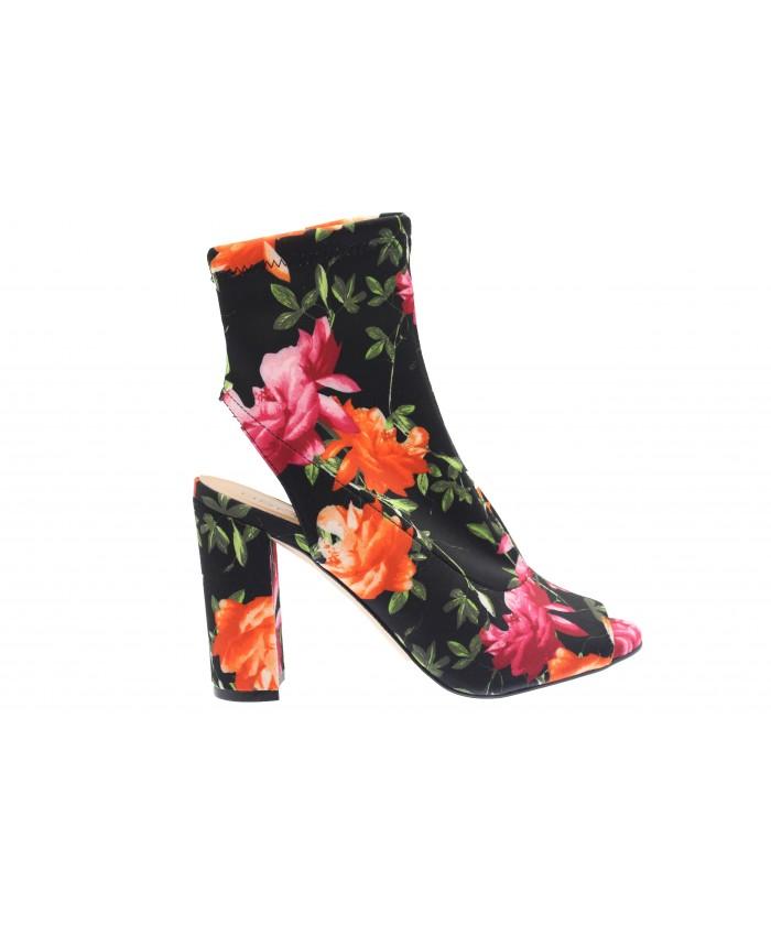 Sandale Nayé: Stretch noir impirmé Fleuri à talon carré