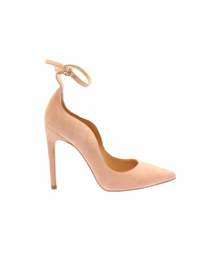Escarpin Monique: Daim Nude à bride & talon fin