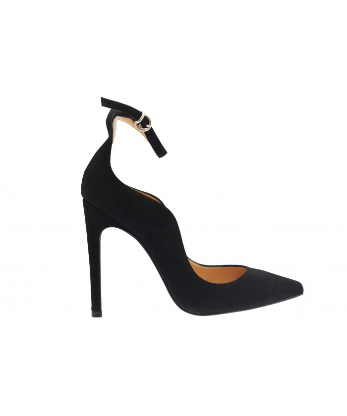 Escarpin Monique: Daim Noir à bride & talon fin
