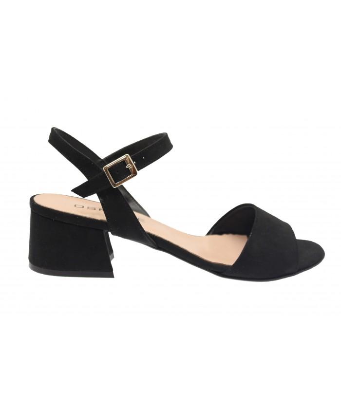 Sandale Ambre: effet daim Noir à petit talon carré