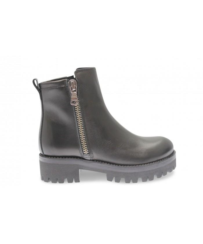 Boots Solina : Cuir Noir à Zip Semelle Crantée