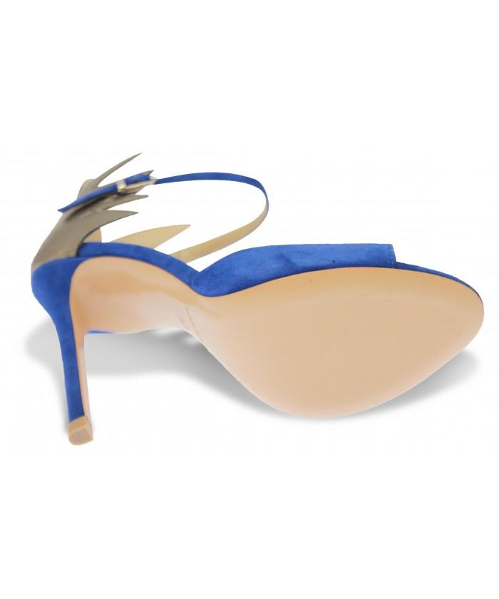 Sandale Jacynte :Daim Bleu & Cuir Bronze