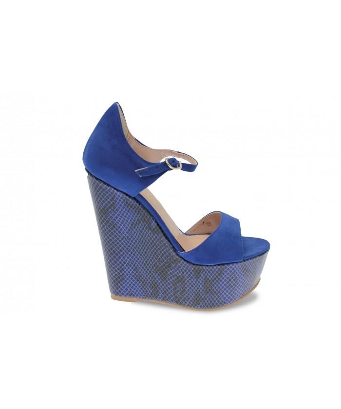 Compensée Mila: Daim Bleu & effet talon python bleu