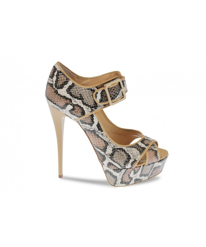 Escarpin Zoa: Cuir effet python Beige à talon