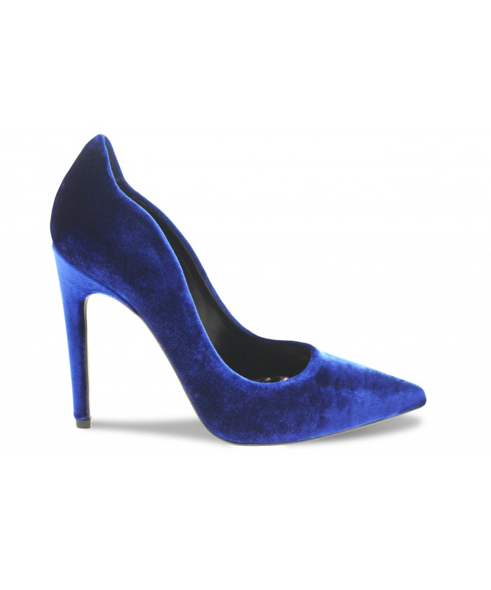 Escarpin Eden :Velours Bleu à Talon