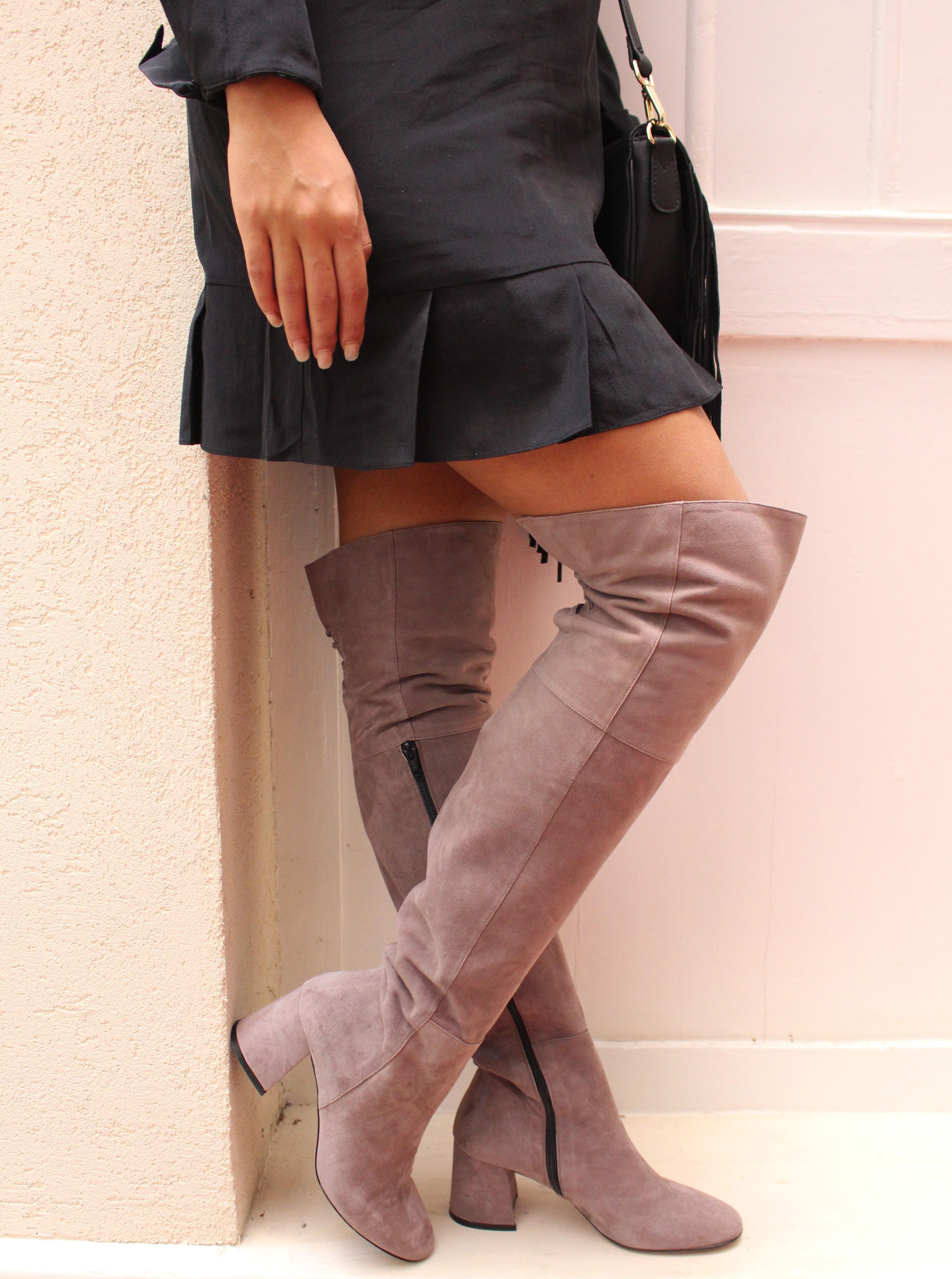 49f37a5cf1fd19 Élancez vous en cuissarde OSMOSE couture: Cuissarde daim taupe femme