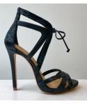 Sandale Aphrodite : Cuir & Python Noir à Talon Haut