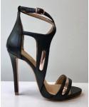 Sandale Cléopatra: Cuir Noir à talon haut