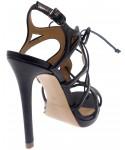 Sandale Andromède : cuir noir à lacet & talon