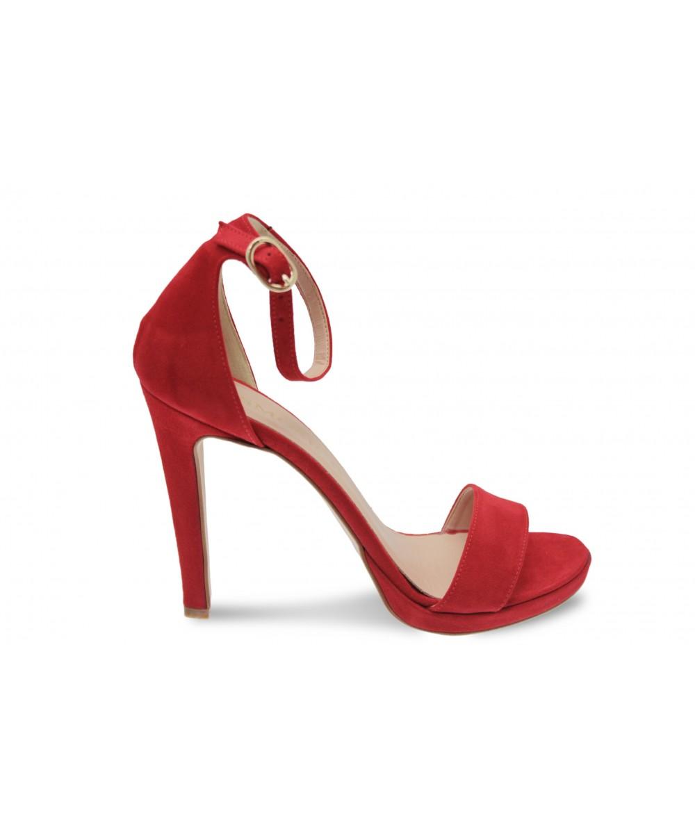 Sandale Line :effet daim Rouge à Bride & Talon