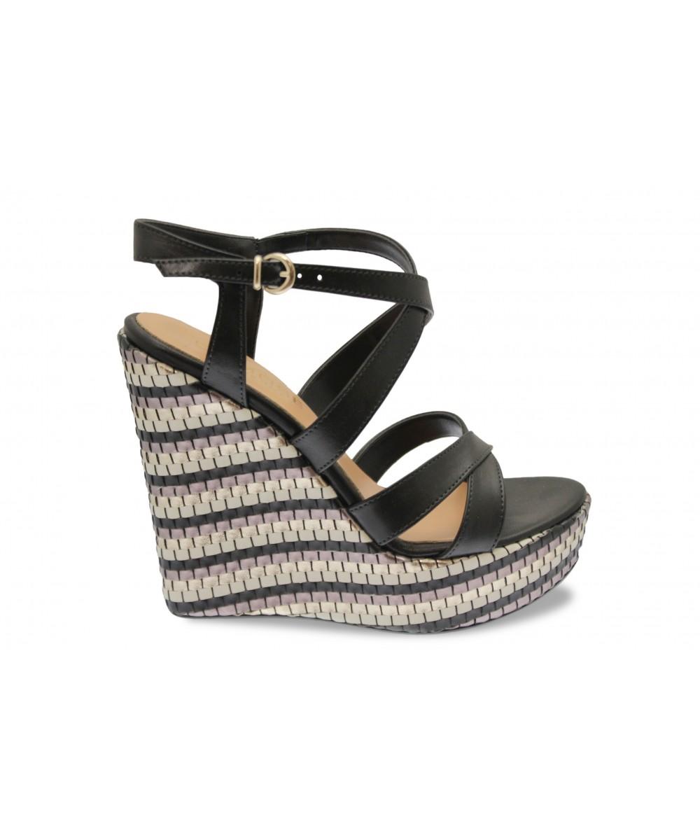 Sublime sandale compensée coeur croisé cuir Noir & multicolore OSMOSE