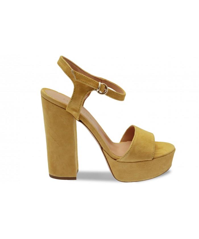 Sandale Ciara: Daim Jaune Moutarde à talon carré