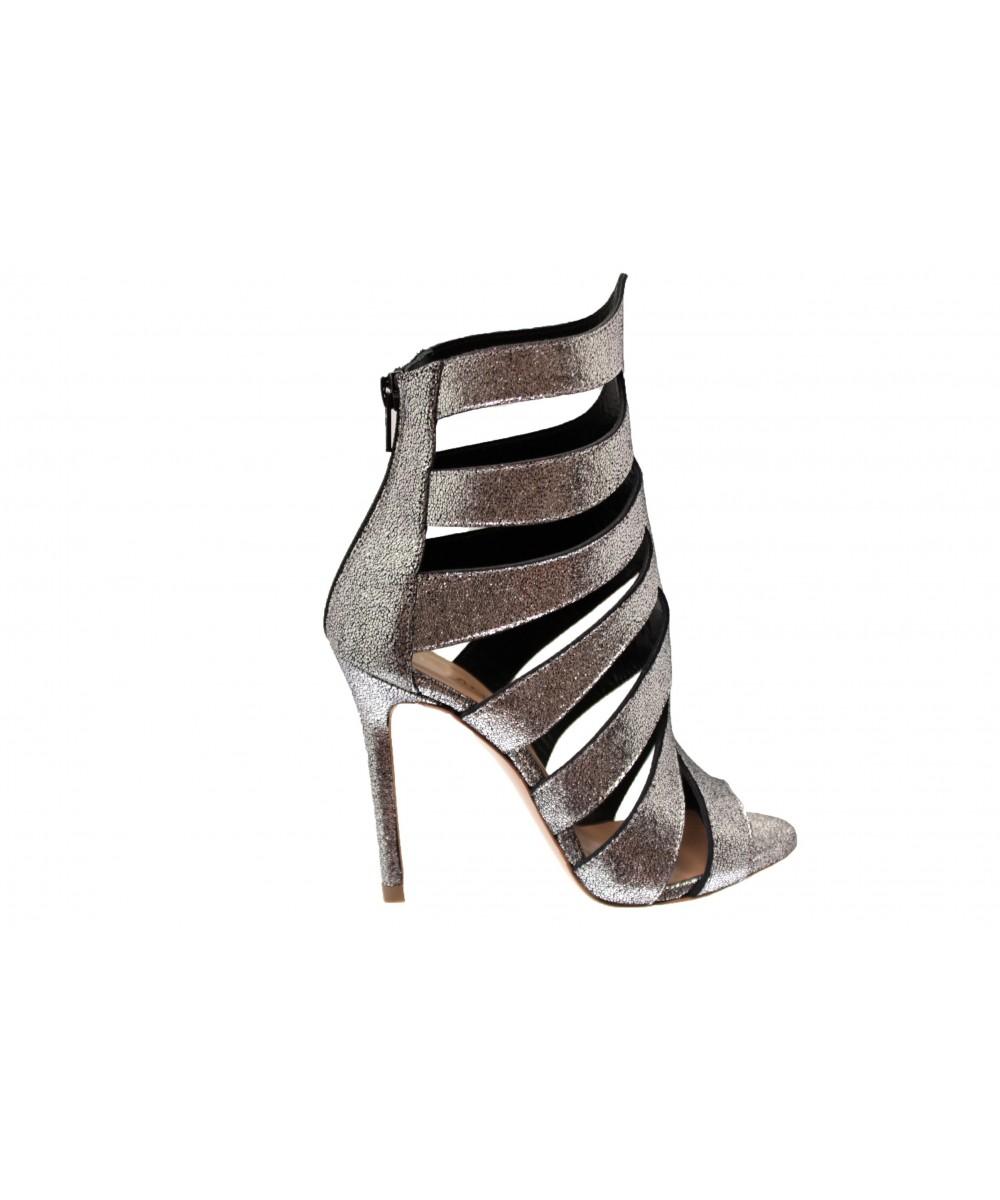 Sandale Alma : Cuir argenté craquelé à talon