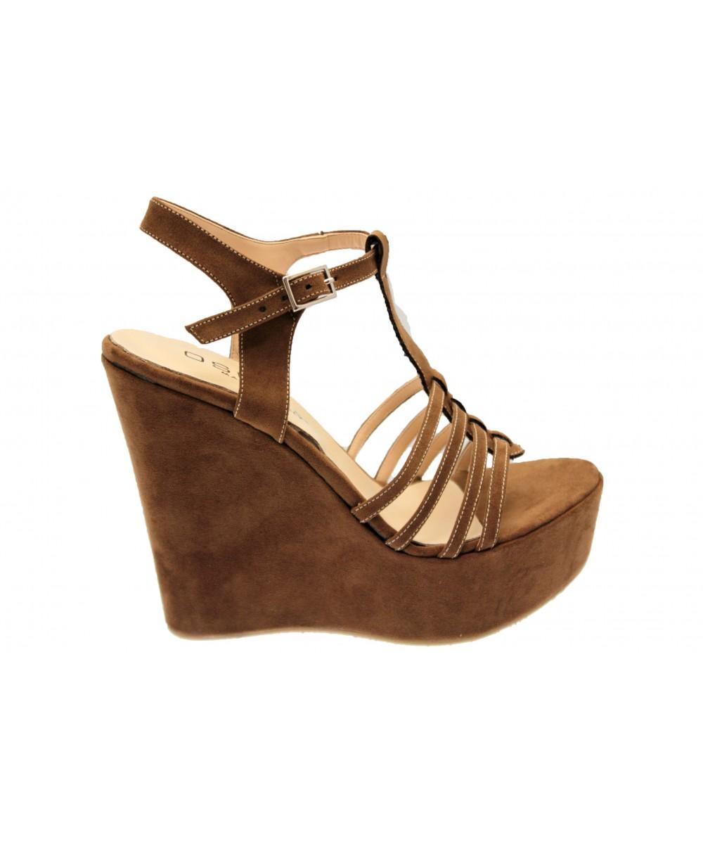 Sandale Telma: Compensée Daim Marron