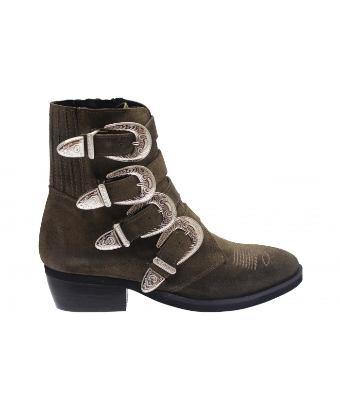 Boots Andreas : Daim Taupe Multi Sangle & Boucle Metal Argentée