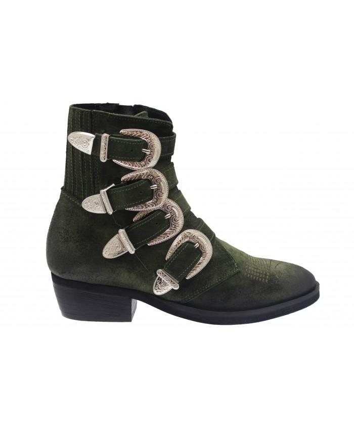Boots Andreas : Daim Kaki Multi Sangle & Boucle Métal Argenté