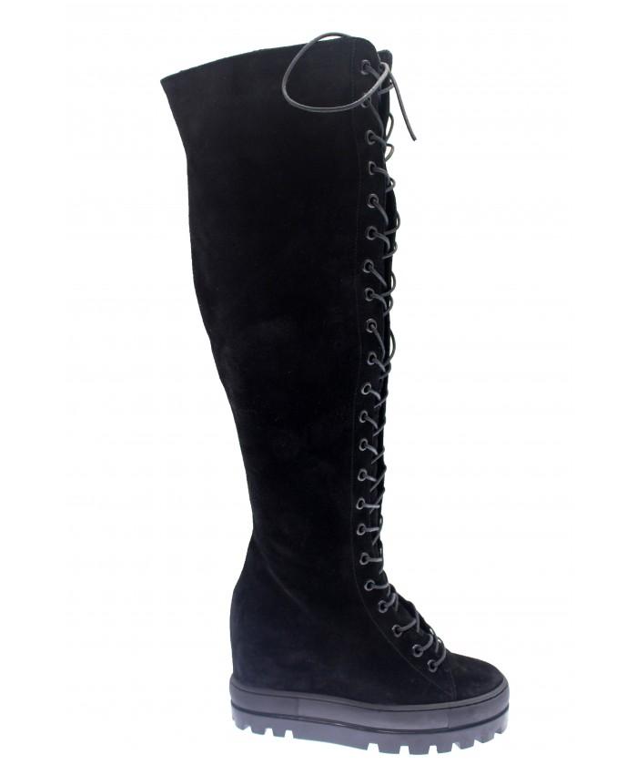 Boots Nya : Compensée Daim Noir à lacet
