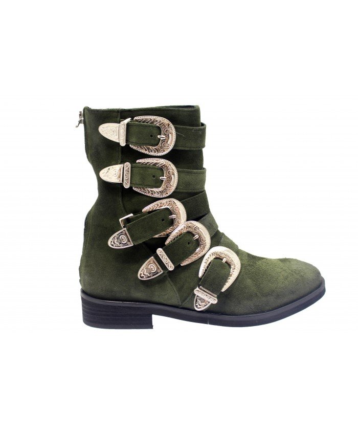 Boots Hagar : Daim Kaki Multi Sangle & Boucle Métal Argenté