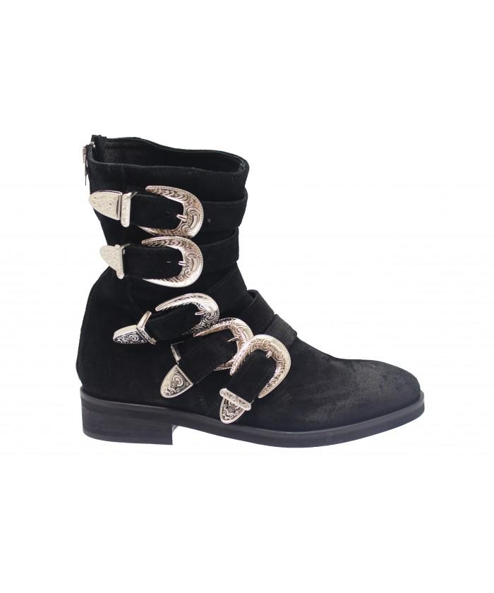 Boots Hagar : Daim Noir Multi Sangle & Boucle Métal Argenté