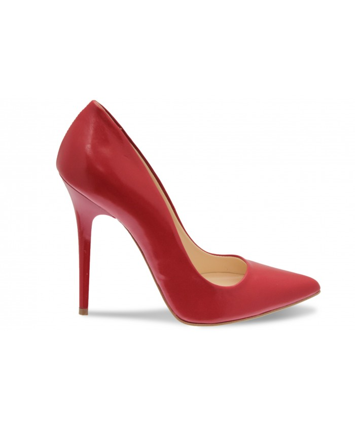 Escarpin Sandy : Cuir Rouge
